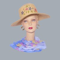 Woven Natural Straw Sun Hat Wide Brim Made in Ecuador for Talbots 1990s Deadstock