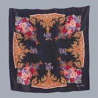 Oscar de la Renta Black Silk Scarf Paisley and Floral Print 1990s