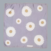 Vintage Givenchy Silk Scarf Daisy Print 1970s Silver Gray