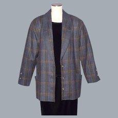 Vintage 1980s Geiger Wool Tweed Coat Jacket Made in Switzerland Ladies Large