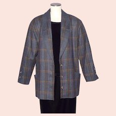 Vintage 1980s Geiger Wool Tweed Coat Jacket Made in Switzerland Ladies Large