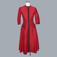 Vintage 1950s Parklane Juniors Red Dress Drop Waist Circle Skirt