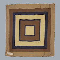 Vintage 1970s Yves Saint Laurent Silk Scarf Geometric Print Squares and Rectangles