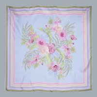 Large Pastel Floral Print Silk Scarf by WinterSilks 1990s