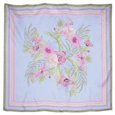 Large Pastel Floral Print Silk Scarf by WinterSilks 1990s