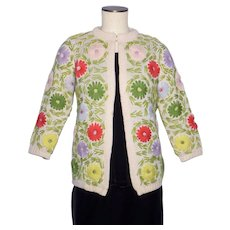 Vintage 1960s Embroidered Floral Knit Sweater Wool Cardigan made in Taiwan