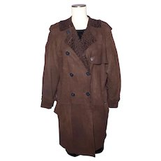 John Galliano Brown Lamb Suede Leather Trench Style Coat Curly Lamb Lining 1990s