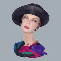 Vintage 1960s Rozanne Black Straw Turned Up Brim