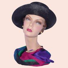 Vintage 1960s Rozanne Black Straw Turned Up Brim