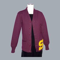 Vintage 1950s Letterman Varsity Cardigan Sweater Maroon Wool Stadium Shaker Sweater Co