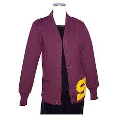 Vintage 1950s Letterman Varsity Cardigan Sweater Maroon Wool Stadium Shaker Sweater Co