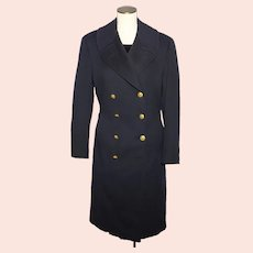 Vintage 1940s US Navy Officers Authentic Bridge Coat Black Wool Eagle Buttons