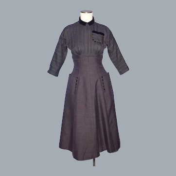 Vintage 1950s Parklane Juniors Brown Dress Circle Skirt