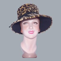 Vintage 1960s Faux Leopard Fur Hat Flower Pot Style
