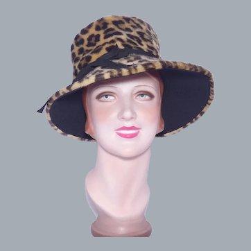 Vintage 1960s Faux Leopard Fur Hat Flower Pot Style