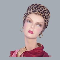 Vintage 1960s Faux Leopard Fur Pillbox Hat Jonquil Original