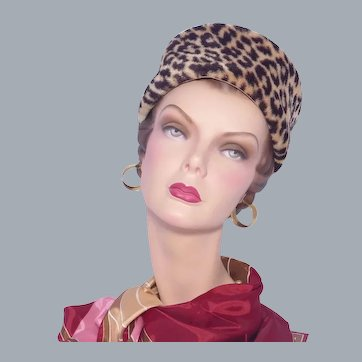 Vintage 1960s Faux Leopard Fur Pillbox Hat Jonquil Original