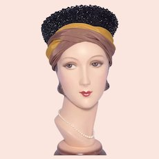 Vintage 1960s Turban Hat Black Straw Crown Gold and Brown Faille Trim