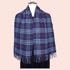 Burberrys of London Lambswool Navy Blue Nova Plaid Scarf 1990s