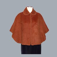 Baby Alpaca Wool Copper Brown Cape/Capelet Hand Made in Peru by Yana 1990s
