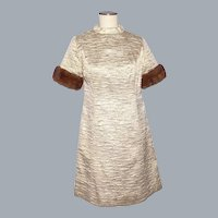 Vintage 1960s Gold Metallic Fabric A-Line Dress Mink Fur Trim