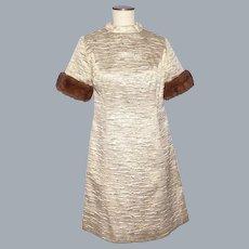 Vintage 1960s Gold Metallic Fabric A-Line Dress Mink Fur Trim