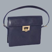 Vintage 1960s Nettie Rosenstein Handbag Purse Navy Blue Leather Made in Italy