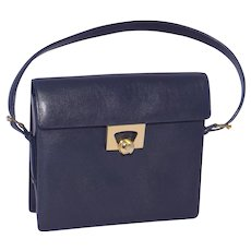 Vintage 1960s Nettie Rosenstein Handbag Purse Navy Blue Leather Made in Italy