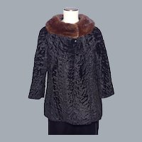 Vintage 1950s-1960s Broadtail Lamb Fur Jacket Designed by Mouratidis With Mink Fur Collar