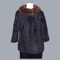 Vintage 1950s-1960s Broadtail Lamb Fur Jacket Designed by Mouratidis With Mink Fur Collar