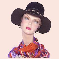 Vintage 1960s Genevieve Original Brown Fur Felt Wide Brim Hat