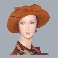 Vintage 1960s Frank Olive Wool Felt Sou'wester Hat Deadstock Sold at Montaldos