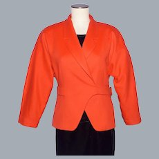 Vintage 1980s Gucci Jacket Tangerine Orange Wool and Cashmere Made in Italy