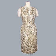 Vintage 1960s Mr Kal Gold Metallic Brocade Cocktail Wiggle Dress