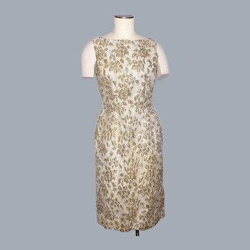 Vintage 1960s Mr Kal Gold Metallic Brocade Cocktail Wiggle Dress