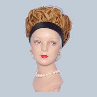 Vintage 1960s Mr John Jr Puffy Bubble Toque Hat Black and Gold Satin