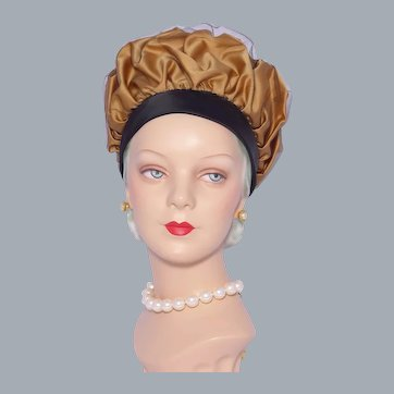Vintage 1960s Mr John Jr Puffy Bubble Toque Hat Black and Gold Satin