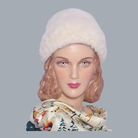 Vintage 1960s White Angora Wool Felt Hat Made in Italy