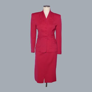 Vintage 1940s Ladies Suit Jacket and Skirt Red Gabardine Wool Styled by Jolee