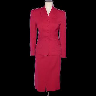 Vintage 1940s Ladies Suit Jacket and Skirt Red Gabardine Wool Styled by Jolee