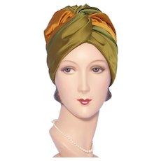 Vintage 1960s Satin Turban Hat Christine Original