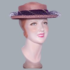 Vintage 1950s Orchid Straw Boater Hat Styled by Coralie