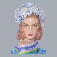 Vintage 1960s Floral Hat Shades of Powder Blue Petals