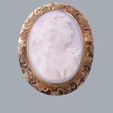 Antique Edwardian Carved Cameo Brooch 10KT Gold Angel Skin Coral