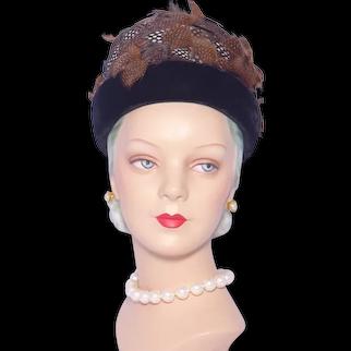 Vintage 1960s Oleg Cassini Feather Hat Black Velvet Trim
