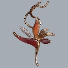 Na Hoku Hawaii 14KT Gold Bird of Paradise Pendant Diamond and Spiny Oyster Inlay