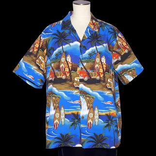 Aloha Mo'i Hawaiian Surfer Print Shirt Island Scenes Made in Hawaii