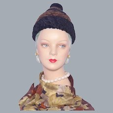 Vintage Late 1950s Early 1960s Sally Victor Beehive Hat Black and Brown