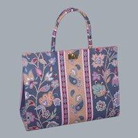 Vintage 1960s Margaret Smith Paisley Print Handbag Made in Gardiner Maine