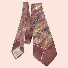 Vintage 1940s Hand Painted Silk Necktie Tie Signed Ross